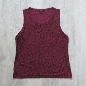 Talbots Maroon Lace and Cotton Tank Size XL